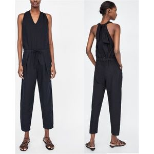 NWT Zara SS18 Size S Black Back Bow Jumpsuit